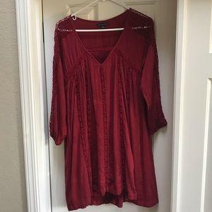 American Eagle Red Boho Long Sleeved Dress